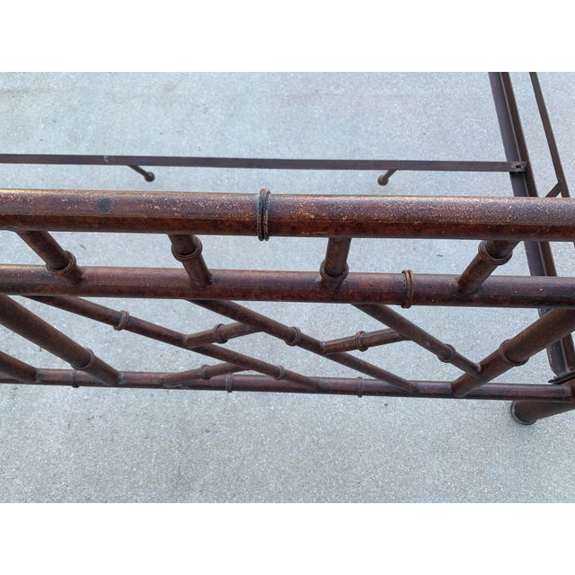 Metal Vintage Chinese Chippendale Faux Bamboo Metal King Bed Frame For Sale - Image 7 of 10