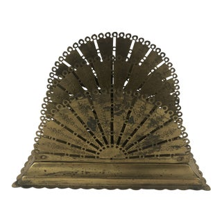 Antique Victorian Filigree Brass Letter Holder For Sale