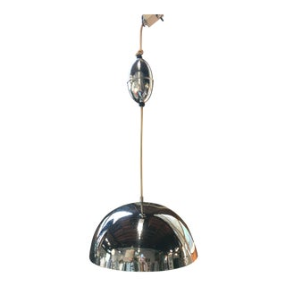 1970s Lightolier Modern Chrome Pendant Light Fixture For Sale