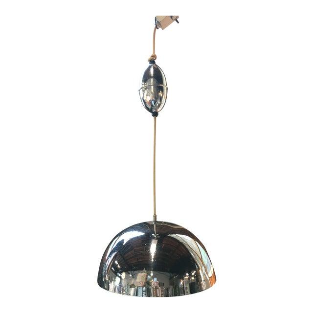 1970s Lightolier Modern Chrome Pendant Light Fixture For Sale
