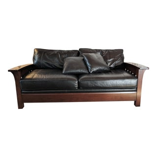 Stickley Orchard St. Black Leather Cherrywood Couch