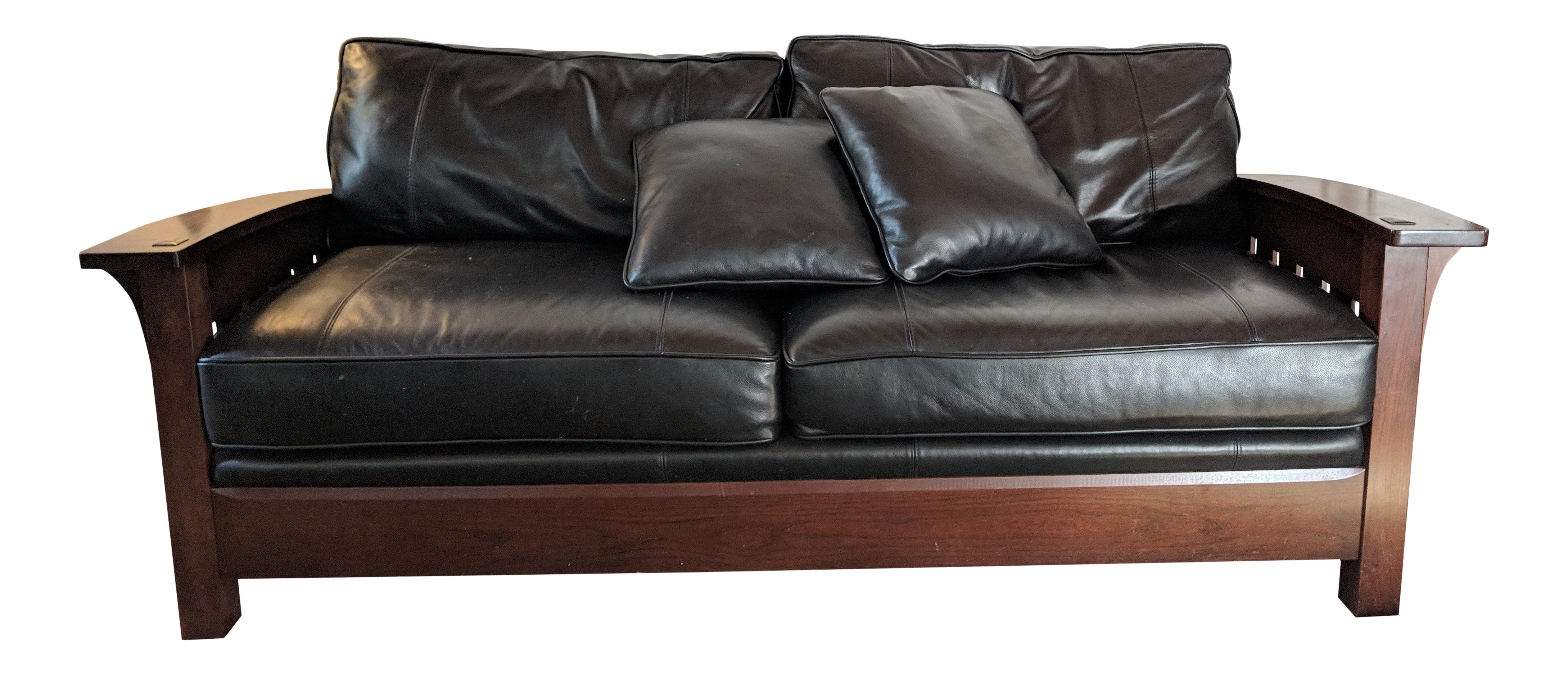Superieur Stickley Orchard St. Black Leather Cherrywood Couch