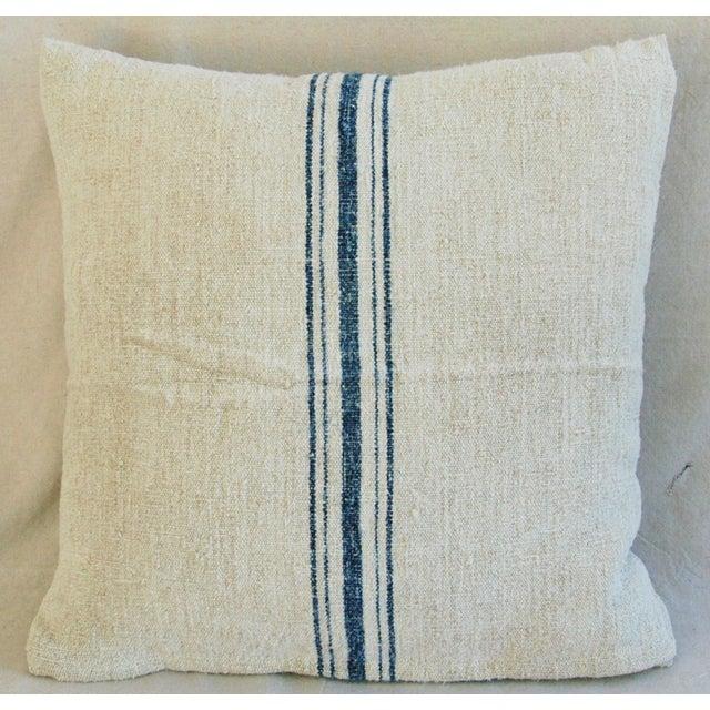 Blue Stripe French Grain Sack Pillow - Image 5 of 8