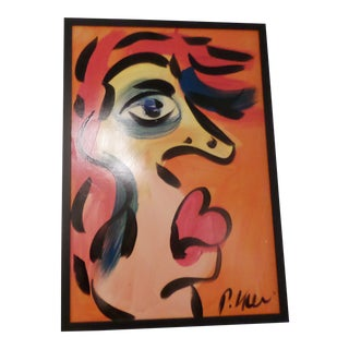 Peter Keil, Abstract Portrait, Oil on Masonite For Sale