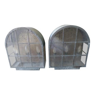 A Pair Huge Vintage Oval Top Metal Mission Style Wall Sconce 3 Light Outdoor Coach Lights For Sale