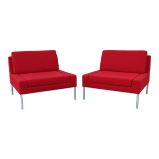 Modern Robin Rizzini for Keilhauer Dario Armless Red Lounge Chairs - a Pair For Sale