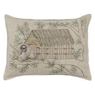 2010s French Ecru Linen Sloth Tree House Pocket Pillow