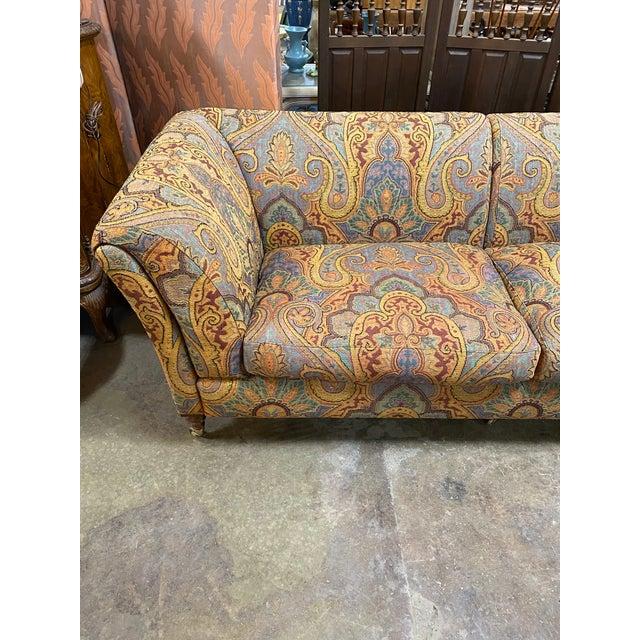 Italian 1990s Vintage Italian Etro Paisley Tapestry Fabric Sofa For Sale - Image 3 of 12
