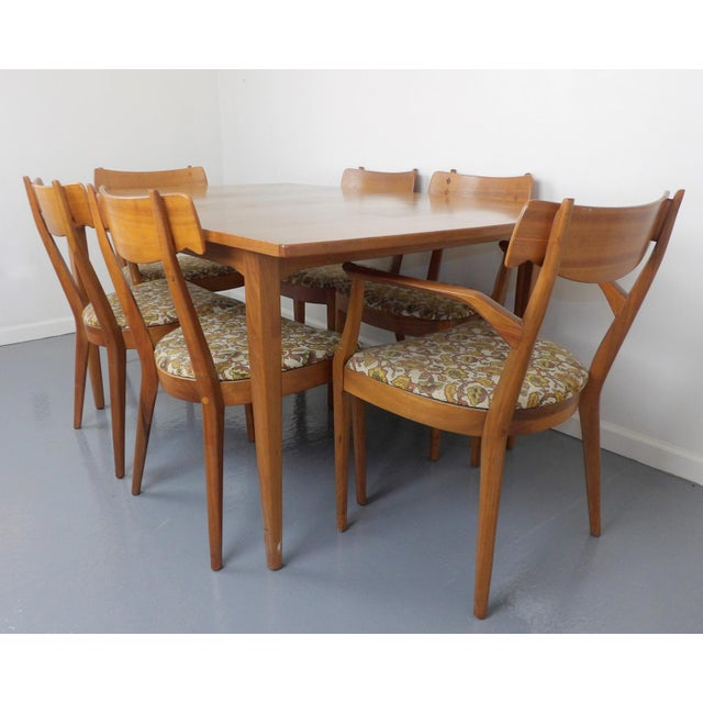 Drexel Declaration Mid Century Modern Walnut Dining Table, Leaves & 6 Chairs Set Kipp Stewart for Drexel Declaration For Sale - Image 4 of 8