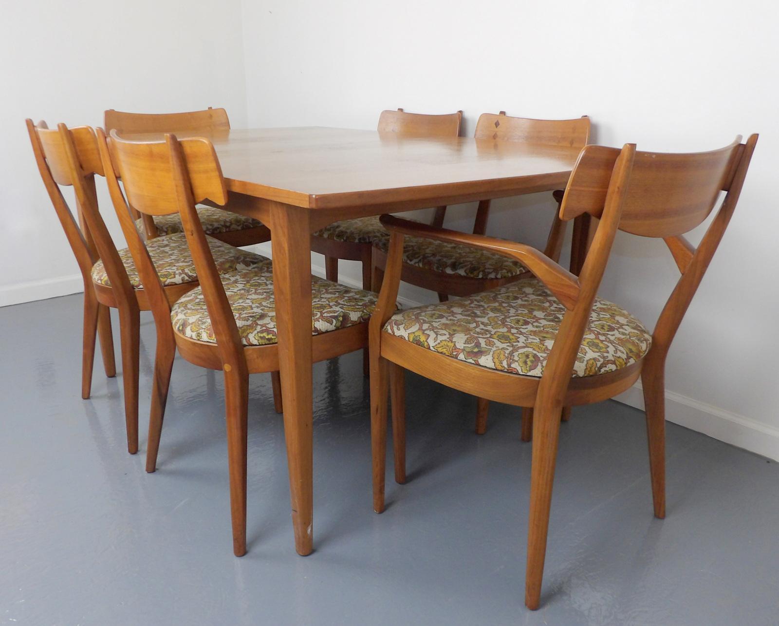 Mid Century Modern Walnut Dining Table, Leaves U0026 6 Chairs Set Kipp Stewart  For Drexel