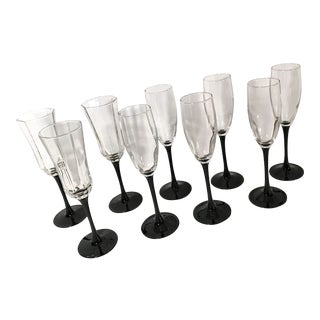 Vintage French Black Stem Champagne Glasses - Set of 9 For Sale