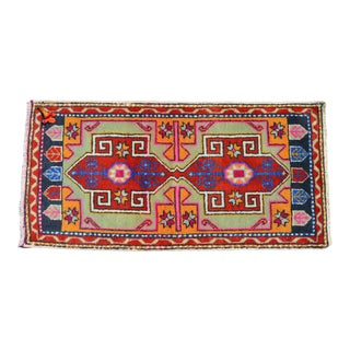 Distressed Low Pile Turkish Yastik Petite Rug Hand Knotted Faded Mat - 21'' X 43'' For Sale