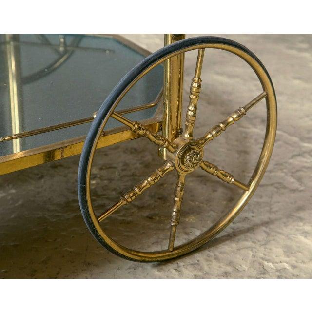 Bronze & Glass Vitrine Tea Wagon Cart For Sale - Image 5 of 8