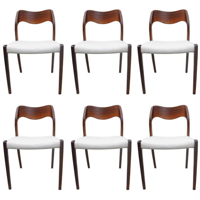 Model 71 Rosewood Dining Chairs by Niels O. Møller for JL Møllers, 1951 For Sale - Image 11 of 11