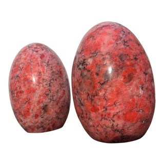 Oversized Pink Marble Eggs-A Pair For Sale
