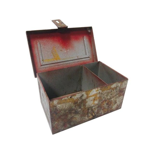 Vintage Rustic Metal Industrial Storage Tool Box For Sale