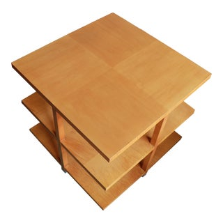 Tiger Maple Baker 3-Tier 1960s Classic Side Table For Sale