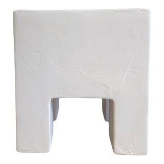 The Flynn Minimalist Smooth Trowel Plaster Side Table For Sale