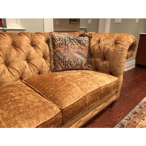 tufted gold chenille chesterfield sofa chairish. Black Bedroom Furniture Sets. Home Design Ideas
