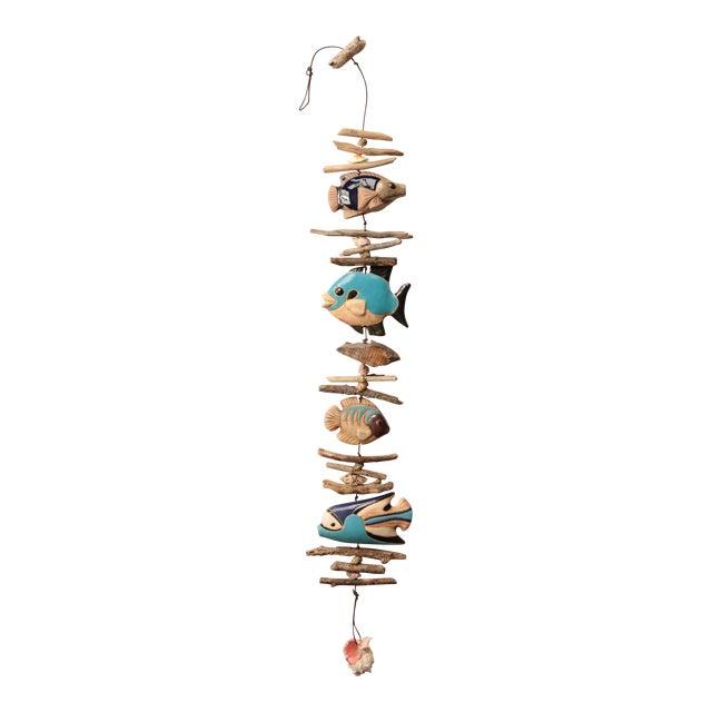 Hazel Olsen Driftwood and Pottery Fish Windchime For Sale