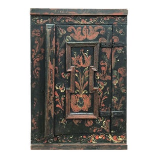 1800s Hand Painted Priest Wall Cabinet For Sale