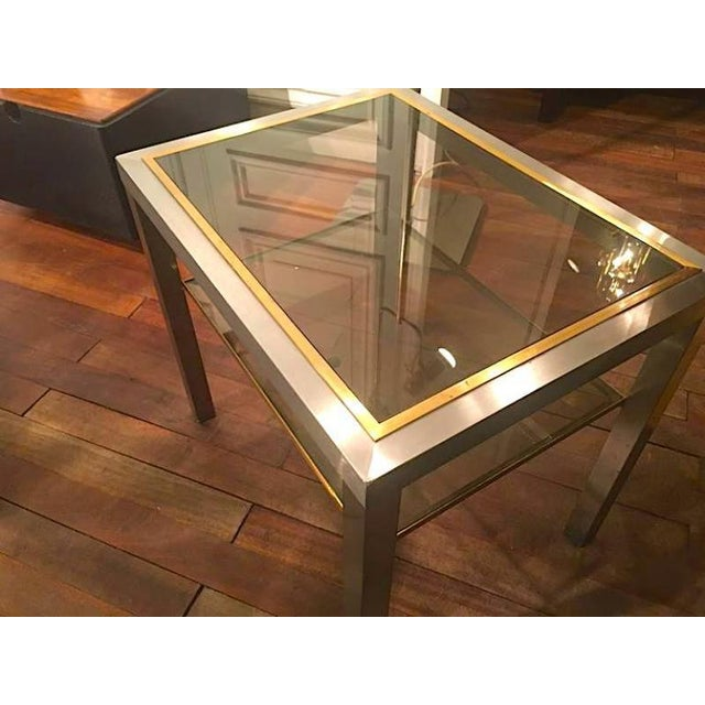 Contemporary Guy Lefevre Pair of Pure Two Tiers Side Table in Brushed Steel and Bronze For Sale - Image 3 of 6