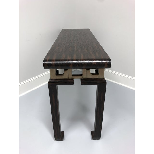 Chinoiserie Vintage Baker Asian Inspired Sofa Table Console For Sale - Image 3 of 12