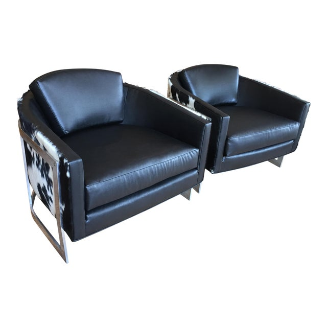 Erwin Lambeth for John Stuart Reupholstered Club Chairs - A Pair For Sale