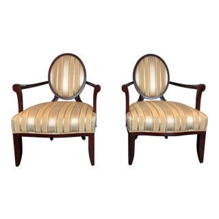 Barbara Barry Upholstered Cherrywood Dining Chairs - a Pair For Sale