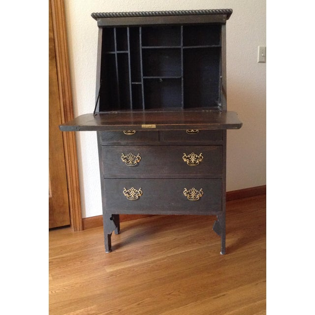 Black 19th Century Arts and Craft Oak Secretary Desk For Sale - Image 8 of 10
