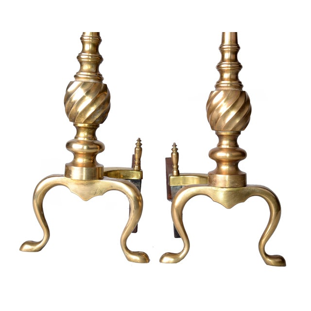 1940s Pair of Solid Brass Andirons For Sale - Image 5 of 10