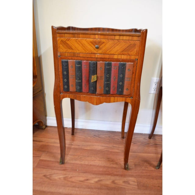 Unusual pair of Transitional wood inlay side table, night tables, both with compartment and a top drawer. One has a faux...