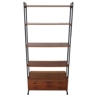 20th Century Italian Vintage Design Bookcase in Teak and Iron, 1960s For Sale