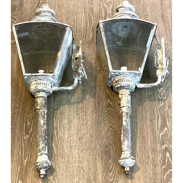 Mid 20th Century English Verdigrises' Brass Coach Lamp Sconces - a Pair For Sale - Image 5 of 9