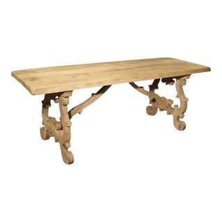 Stripped Antique Tuscan Oak Dining Table, Late 19th Century For Sale