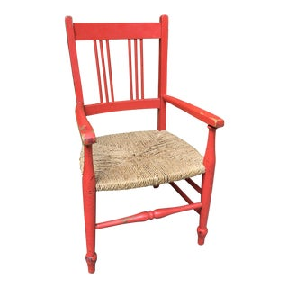 Early 20th Century Red Wooden Childs Chair For Sale