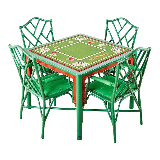 Baker Trompe l'Oeil Card Table With Rattan Armchairs For Sale