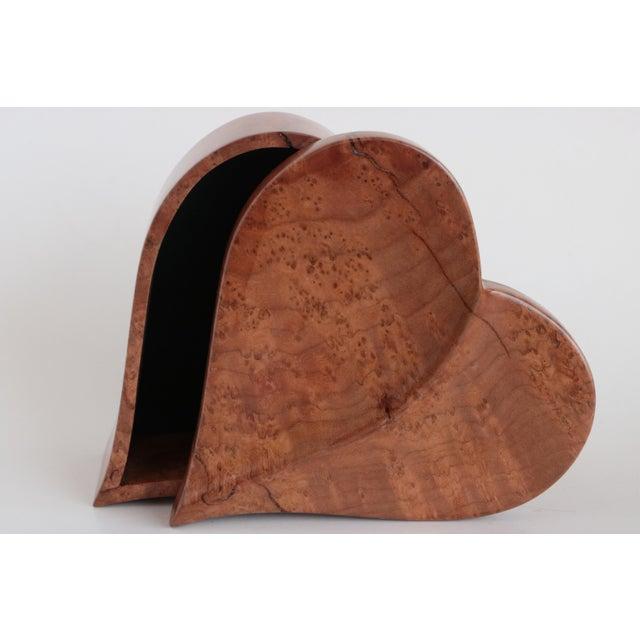 Felt Heart Shaped Wooden Trinket Box For Sale - Image 7 of 7