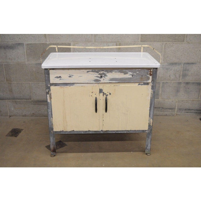Antique Industrial Steel Metal Enamel Top Medical Cabinet For Sale - Image 11 of 13