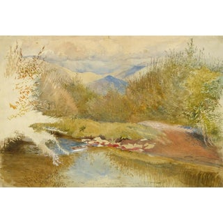 Vintage English Watercolor Landscape - Fall in Gwanach For Sale