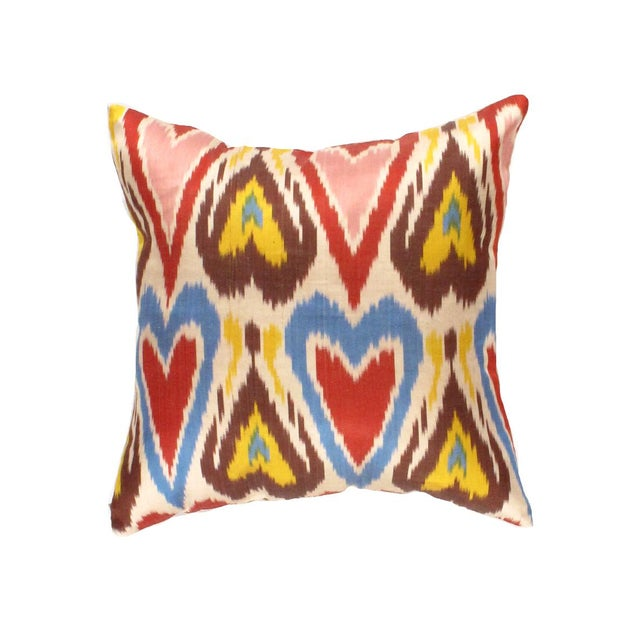 Modern Modern Pasargad Oasis Collection Silk Velvet Ikat Pillow For Sale - Image 3 of 3
