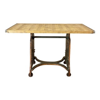 Antique Industrial Cast Iron and Brick Pallet Work Table For Sale