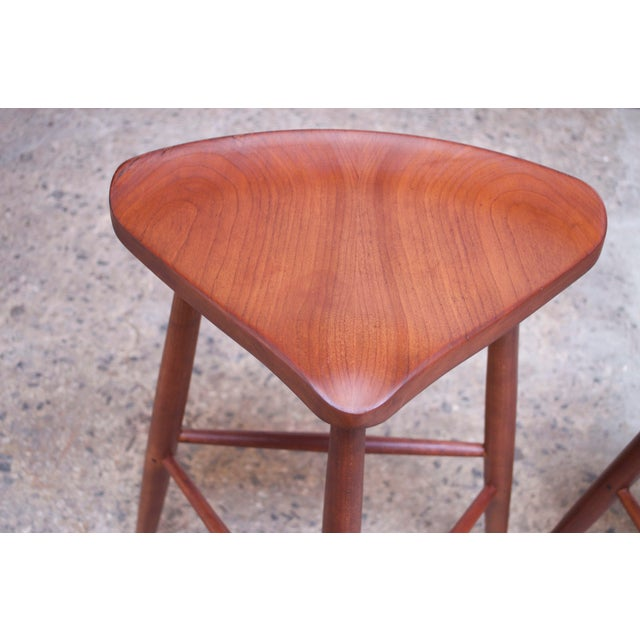 Vintage Solid Walnut Studio Craft Bar Stools by David Scott - a Pair For Sale - Image 9 of 13