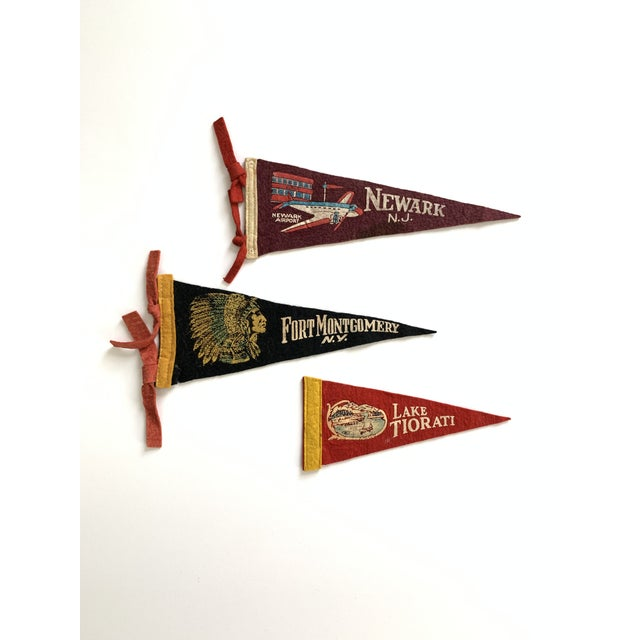 Textile Vintage New York & New Jersey Pennant Flags - Set of 3 For Sale - Image 7 of 7