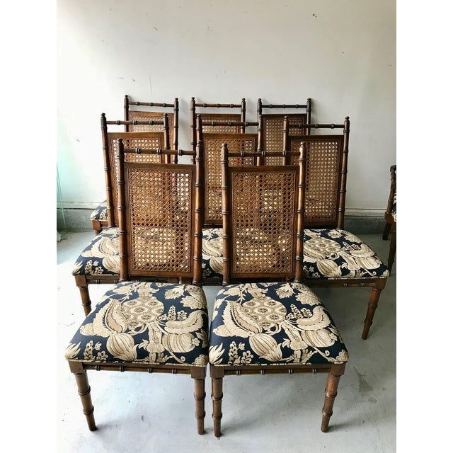 This is an amazing set of 10 vintage, Mid-Cetury high back dining chairs. Made from oak with bamboo design and original...