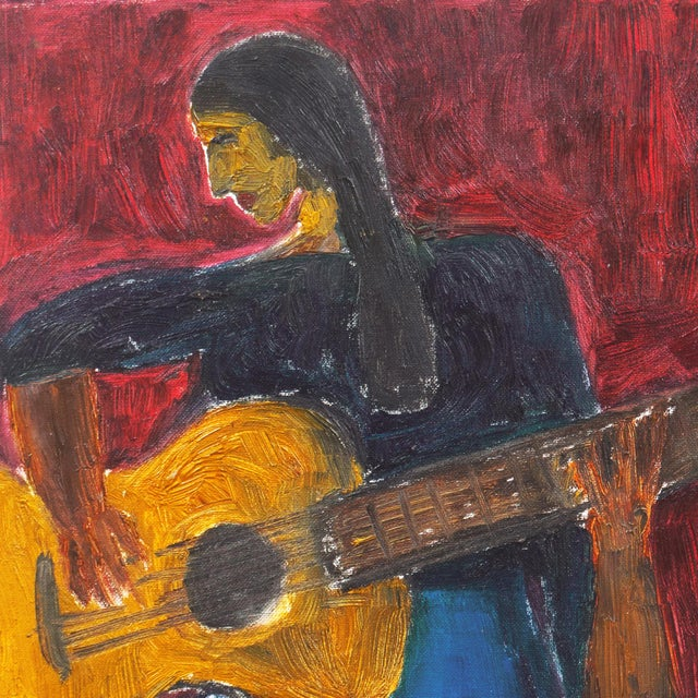 'Woman Playing Guitar' by Jonathan Taylor, California Post Impressionist Oil, Moss Landing For Sale - Image 4 of 8