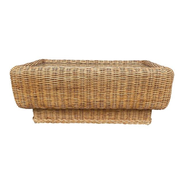 Natural Woven Rattan and Glass Plinth Coffee Table For Sale