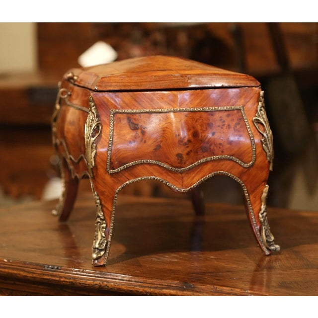 19th Century French Louis XV Bombe Walnut and Burl Jewelry Box With Bronze Mount For Sale - Image 10 of 13