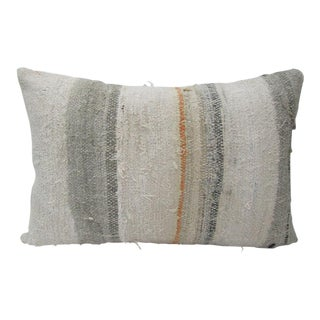Boho Chic Beige & Gray Kilim Pillow For Sale
