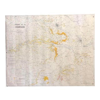 French Map of the Champagne Vineyards For Sale
